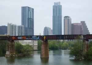 View to downtown Austin from the footbridge near South Lamar Blvd.