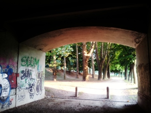 Under the bridge.