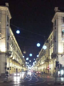 Pretty lights: a message from Comune di Torino to make a Christmas cake already.