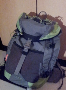 Shiny new beer-free backpack.