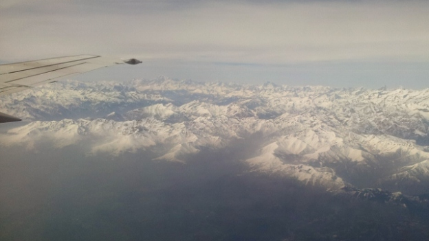 The Alps from a plane window