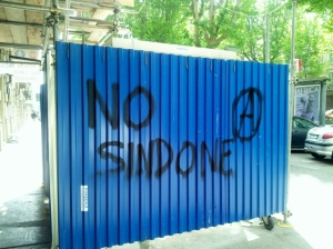 I don't have a picture of the Sindone (Shroud) so this bit of graffiti will have to do.