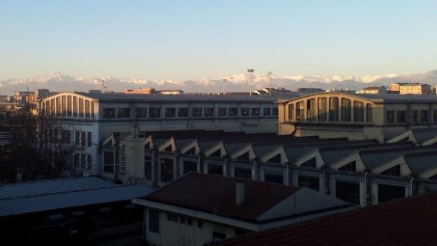 Winter view of the Alps from Turin