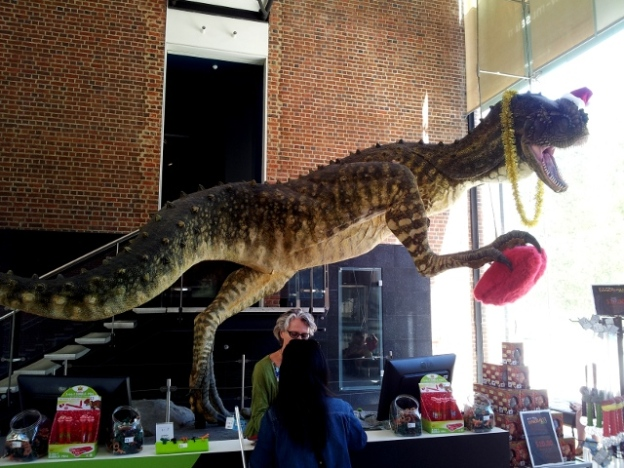 Dinosaur with Christmas hat in West Australian Museum