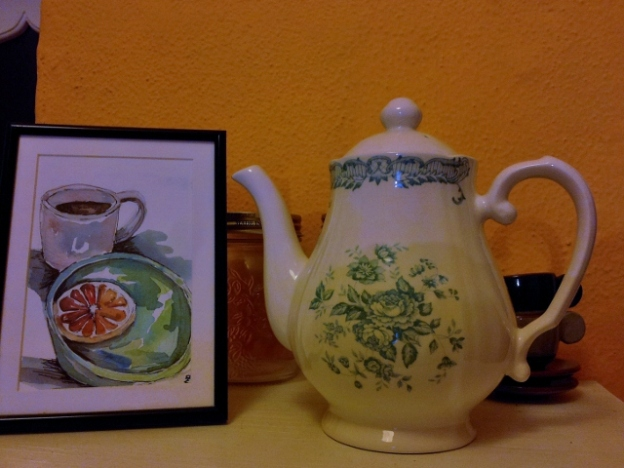 Teapot and watercolour postcard