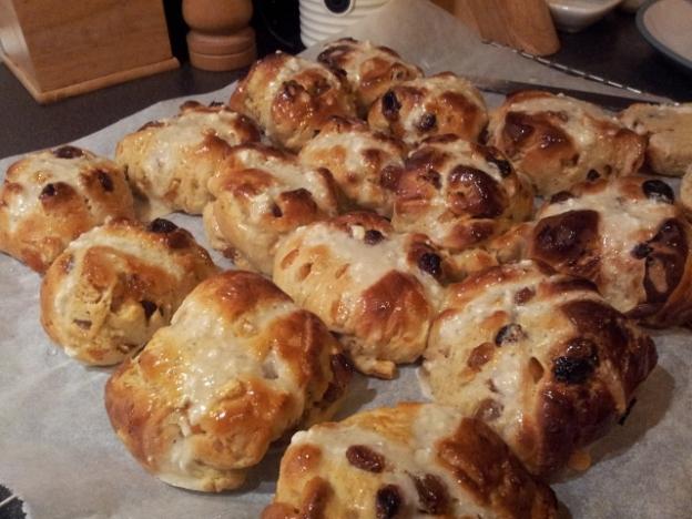 Freshly cooked hot cross buns