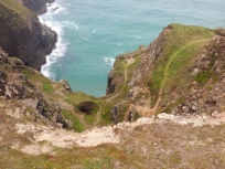 Cliff path to mine shaft, Cornwall