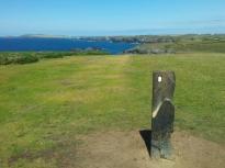 South West Coast Path trail marker near Porth Mear