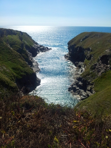 A narrow cove in Cornwall