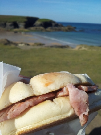 A bacon bap in Treyarnon Bay