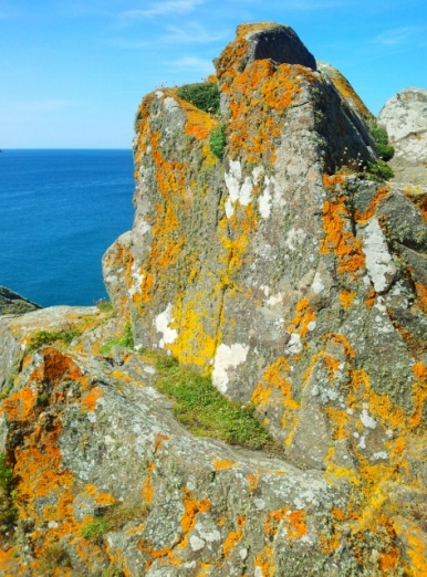 Granite formation with lichen