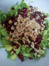 Brussel sprouts, pomegranate and hazelnut salad