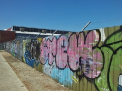 Graffitied fence